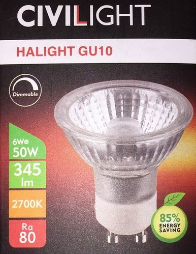 AKTION !! Civilight LED Leuchtmittel 6Watt 2700K dimmbar GU10 HALED Glas-HALED